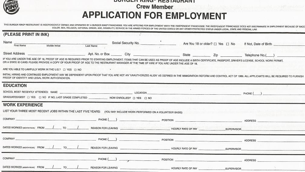 burger king job applications form online