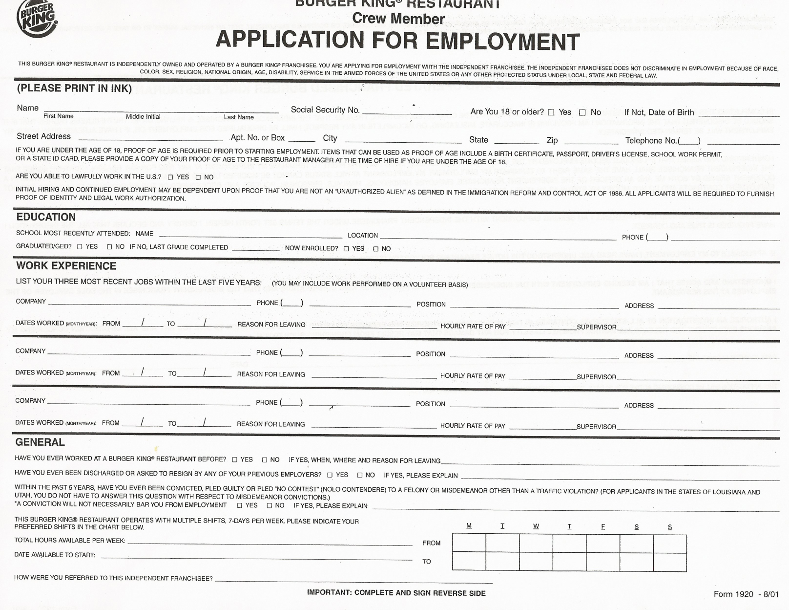 burger king job applications in safford az