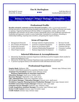 business systems analyst sample resume