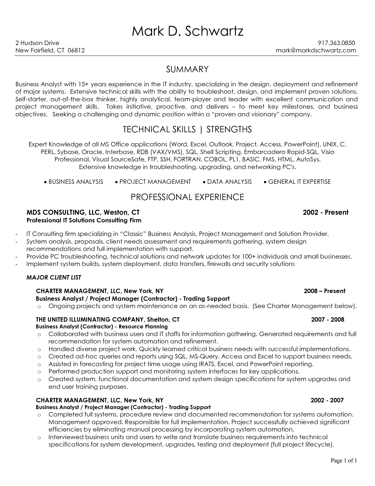 10 business analyst resume sample samplebusinessresume for Business analyst documents templates