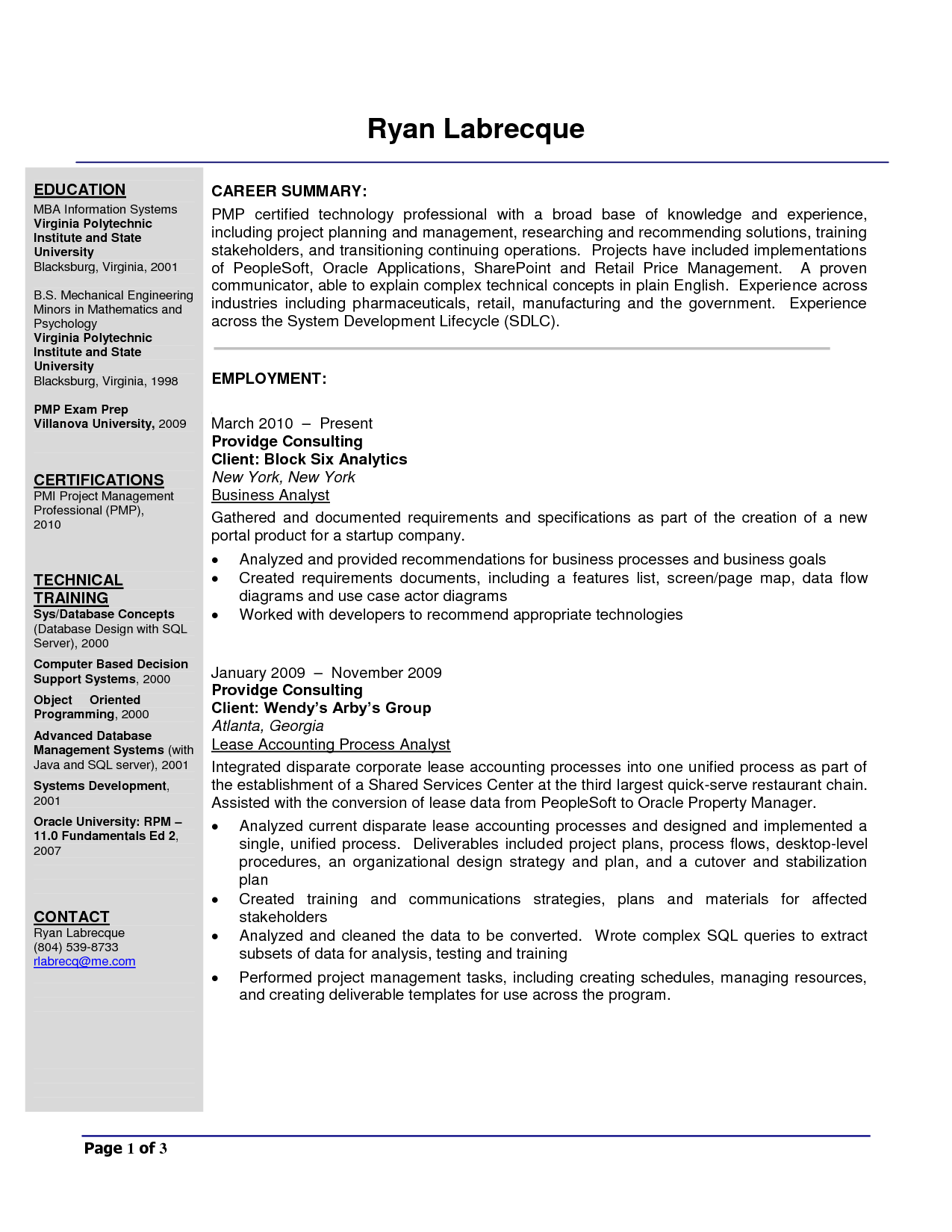 business analyst resume business analyst resume templates business analyst resume sample doc by ryan labrecque - Sample Of Business Analyst Resume