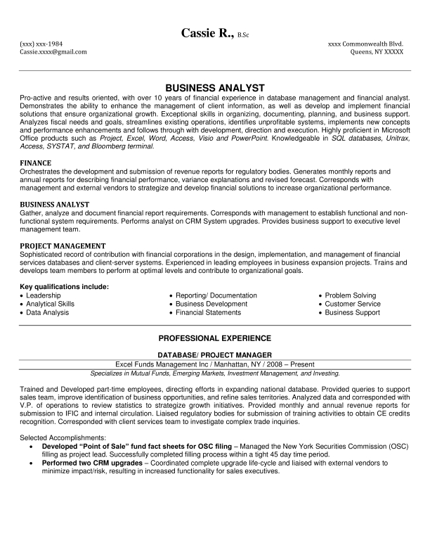 financial services resume sample