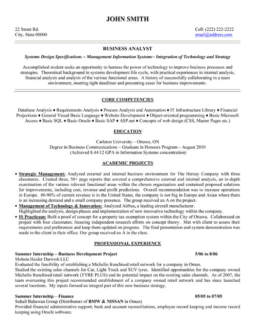 business analyst resume objective by john smith
