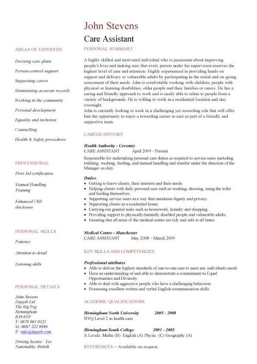 personal care assistant job description for resume