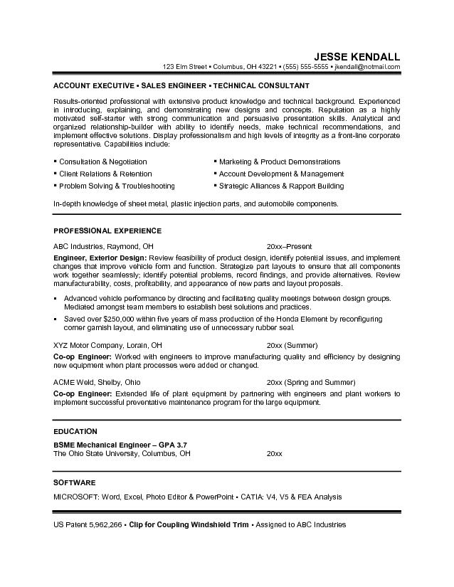 career objective resume examples for Sales Engineering and technical consultant job application