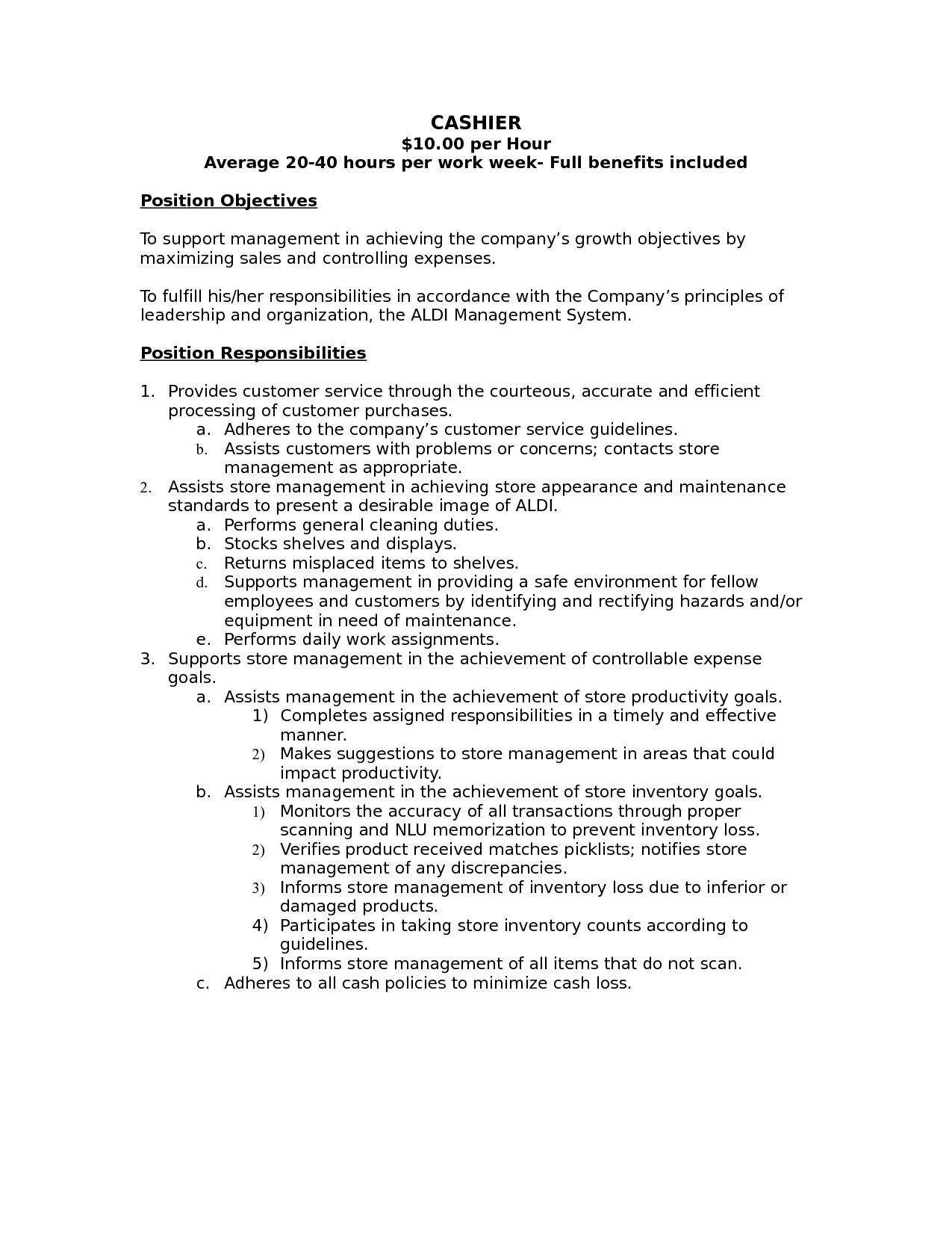 cashier job description  cashier job description for resume