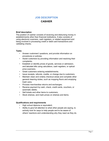 cashier job description pdf Cashier Job Description