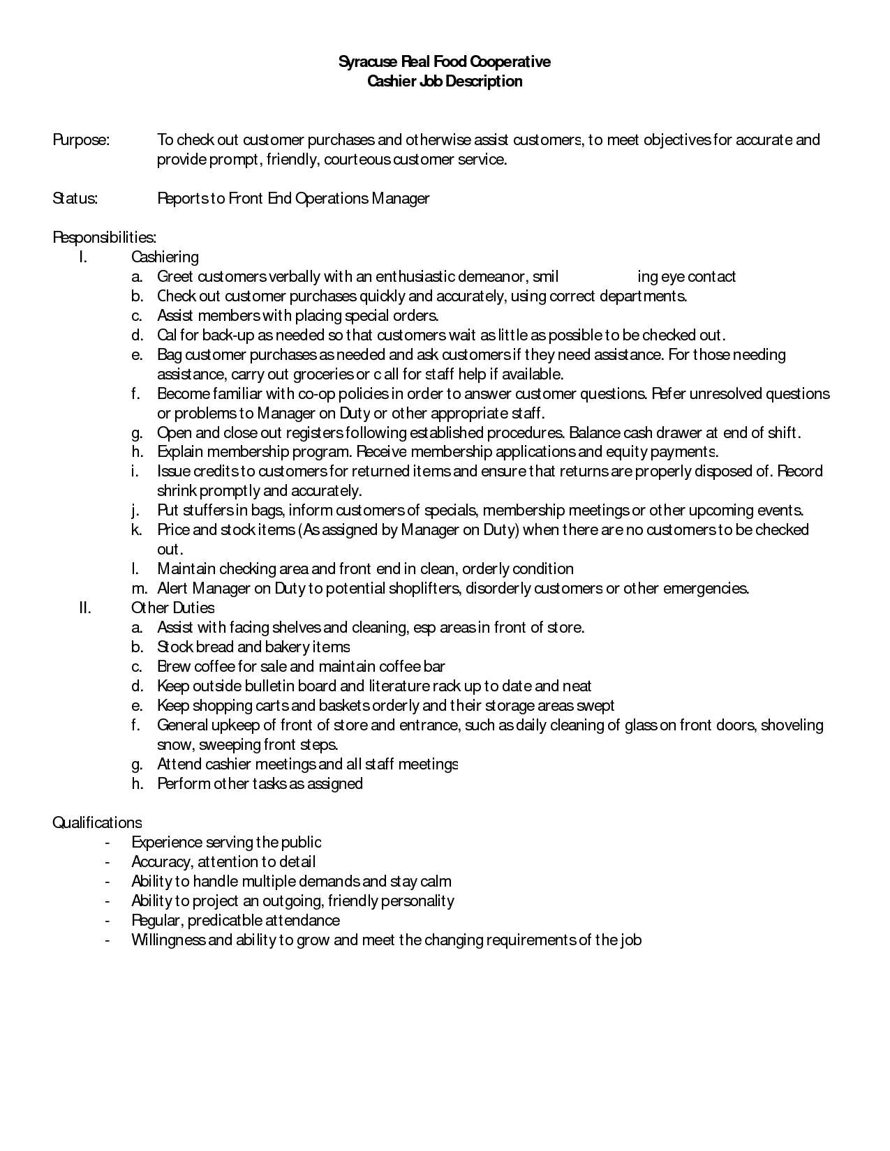 cashier description resume cashier description for