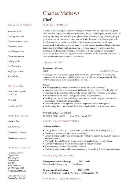 chef personal summary sous chef job description cmaa by charles mathews