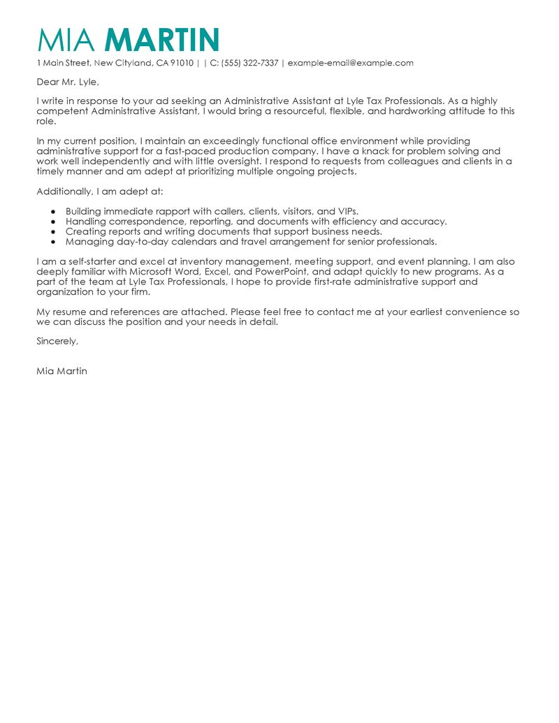 cladministrative assistant administration office support administrative assistant cover letter email by mia martin