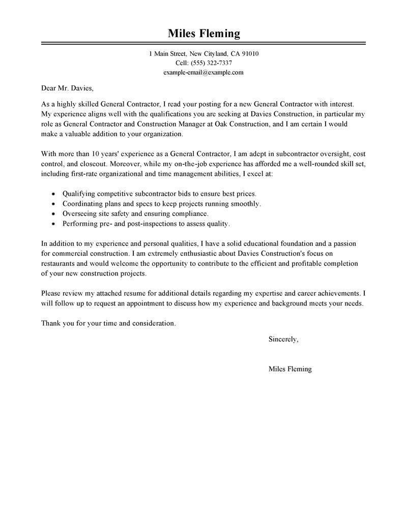 10 general cover letter sample