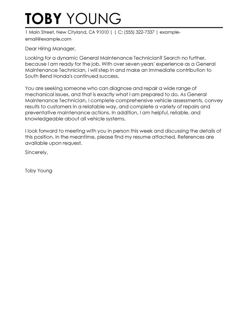 Cover letter template for no specific job