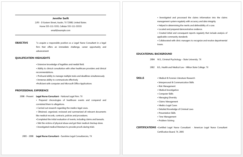 cna duties resume cna resume jennifer swift - Cna Template Resume