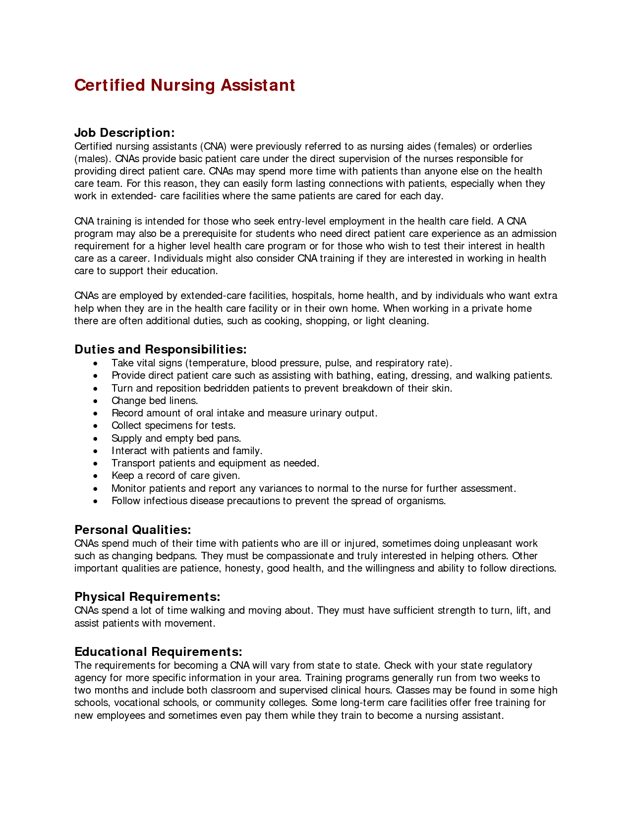 nursing assistant duties and responsibilities resume - Cna Job Description For Resume