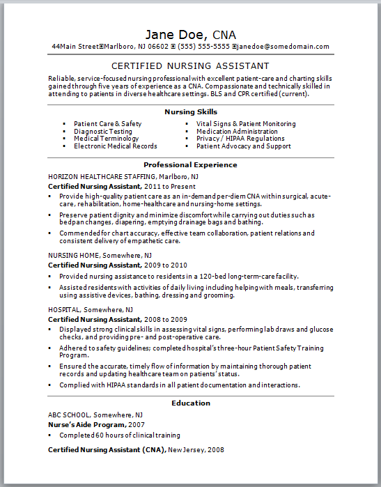 certified nursing assistant duties resume