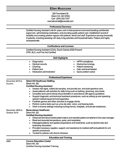 Nice Cna Private Duty Duties Resume Sample Resume For A Certified Nursing  Assistant Certified Nursing Assistant Resume Intended Cna Job Duties Resume