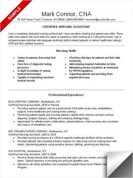 cna resume sample nursing skills and professional experience job skills - Resume For Hospital Job