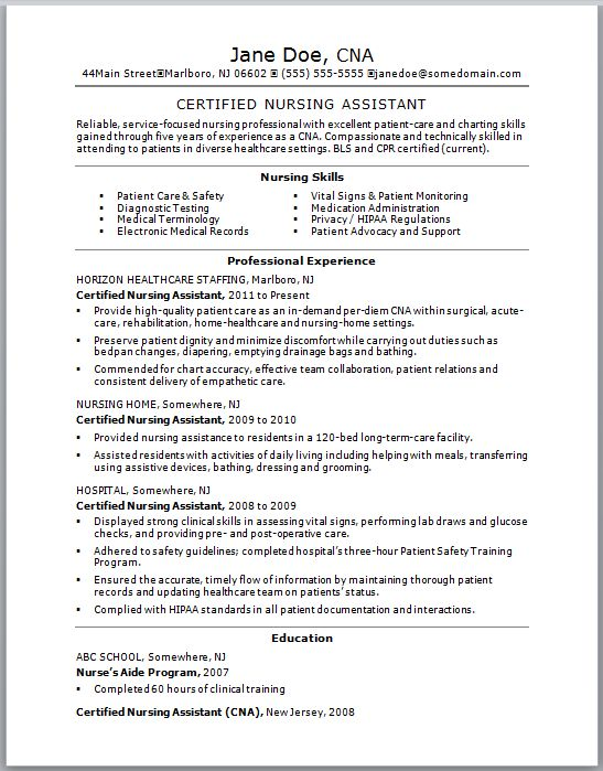 cna resume skills list examples certified nursing assistant by jane ...