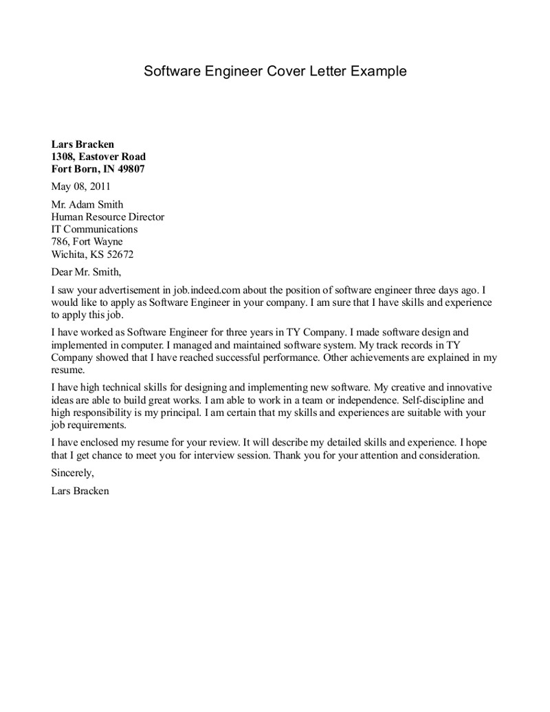 cover letter for internship engineer software engineer cover letter example lars bracken. Resume Example. Resume CV Cover Letter