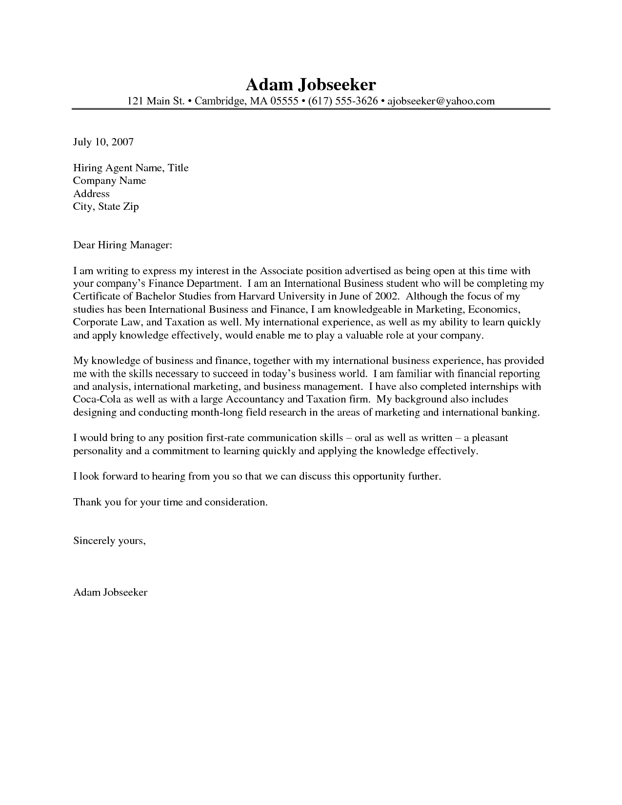 Awesome Cover Letter Internship Example