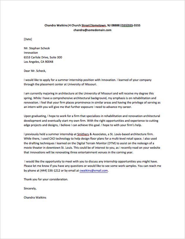 cover letter for internship sample Internship Cover Letter Sample chandra watkins
