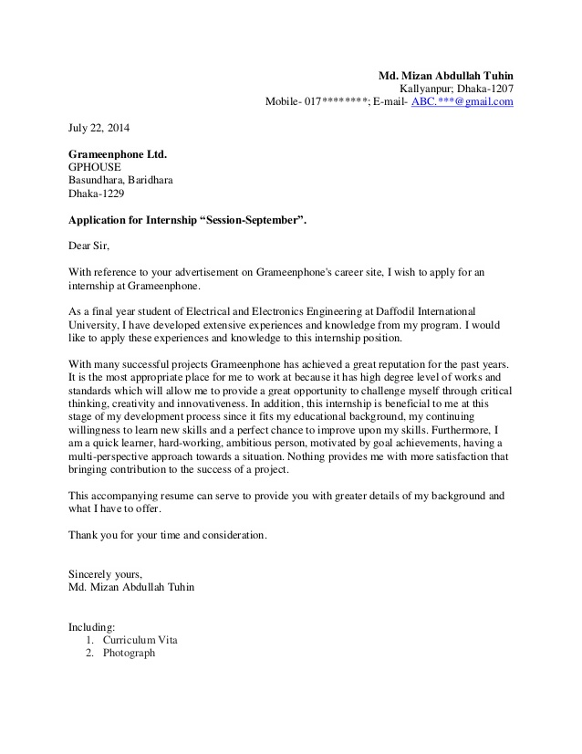 Good Cover Letter For Internship Students Grameenphone Internship Cover Letter  For Students By Mizan Abdulah Tuhin Pertaining To Intern Cover Letter