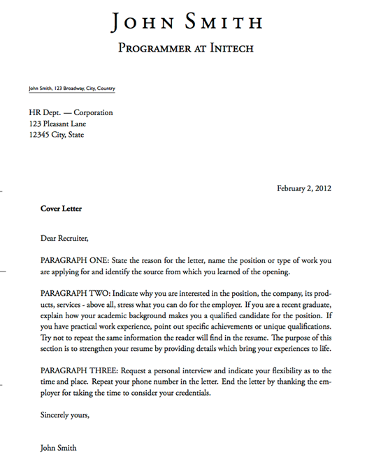 Cover Letter Templates Latex Cover Letter Template John Smith  Templates For Cover Letters