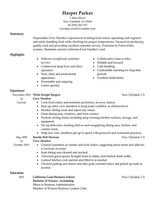 crewmember McDonalds Resume Job Duties food and restaurant