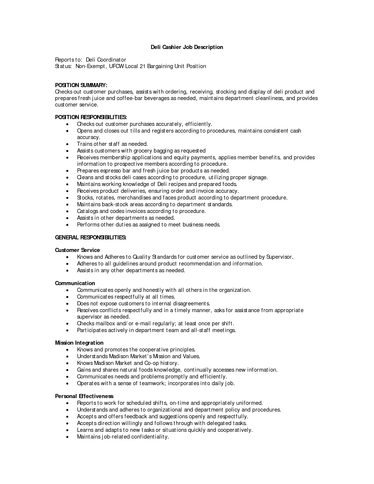 customer service job description cashier job description resume ...