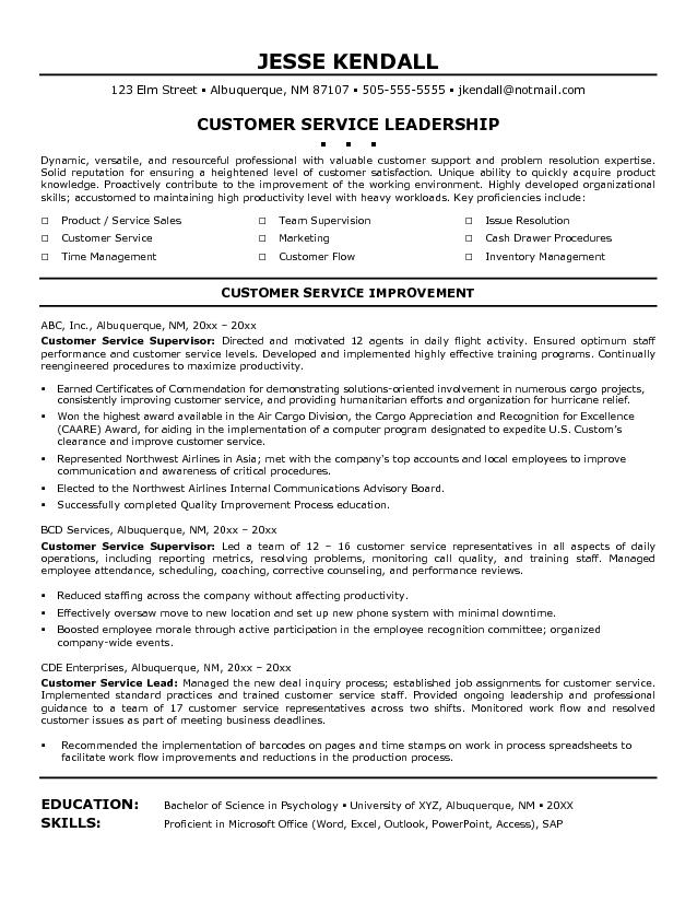Resume Summary Examples Customer Service Manager Under