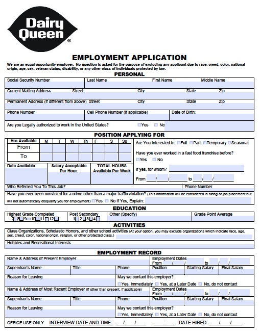 Dairy Queen Job App Dairy Queen Job Application Tim Hortons Application  Printable