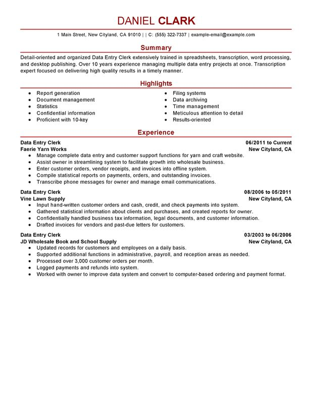resume for custodian resume cv cover letter - Samples Of Clerical Resumes
