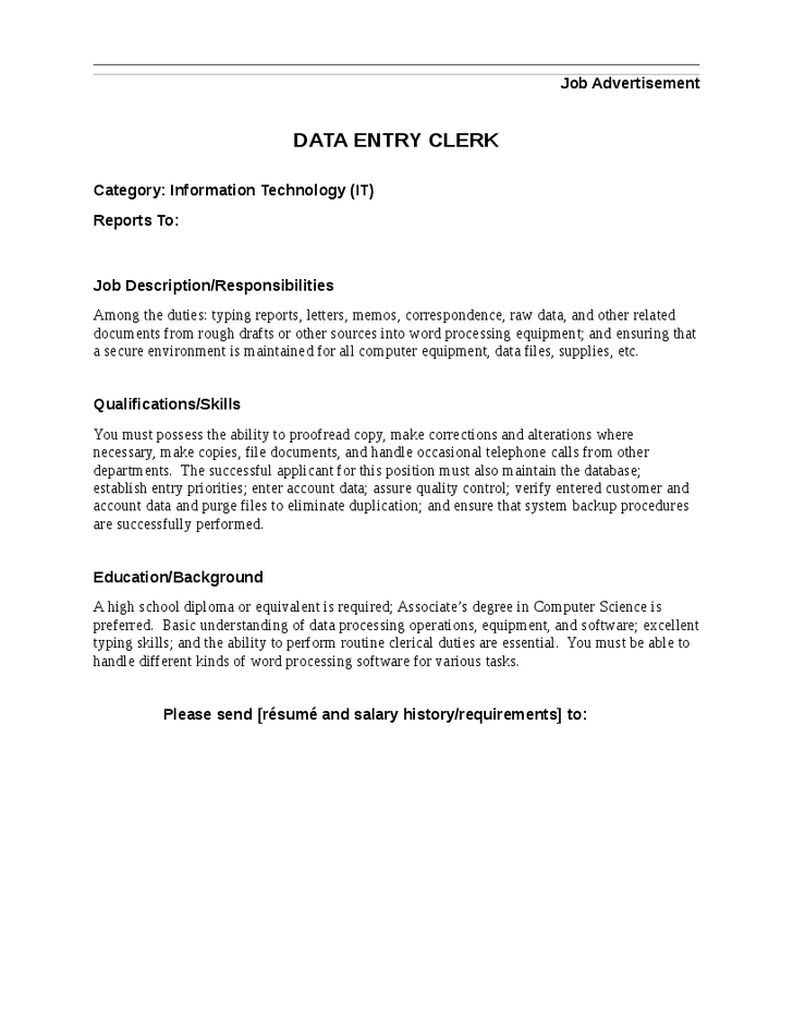 Data Entry Job Description Example Data Entry Clerk Job Description