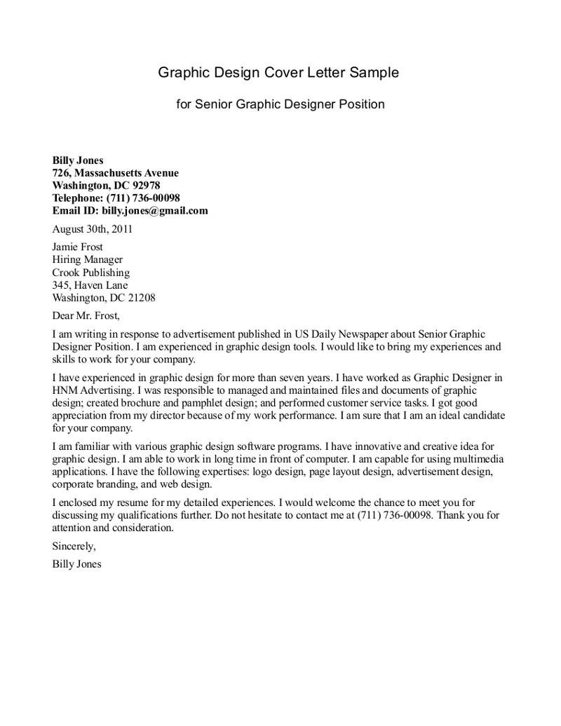 design internship cover letter Graphic Design Cover Letter Sample billy jones