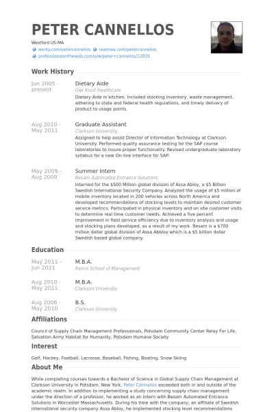Dietary Aide Resume Objective Dietary Aide Resume Example Peter Cannellos In Dietary Aide Resume