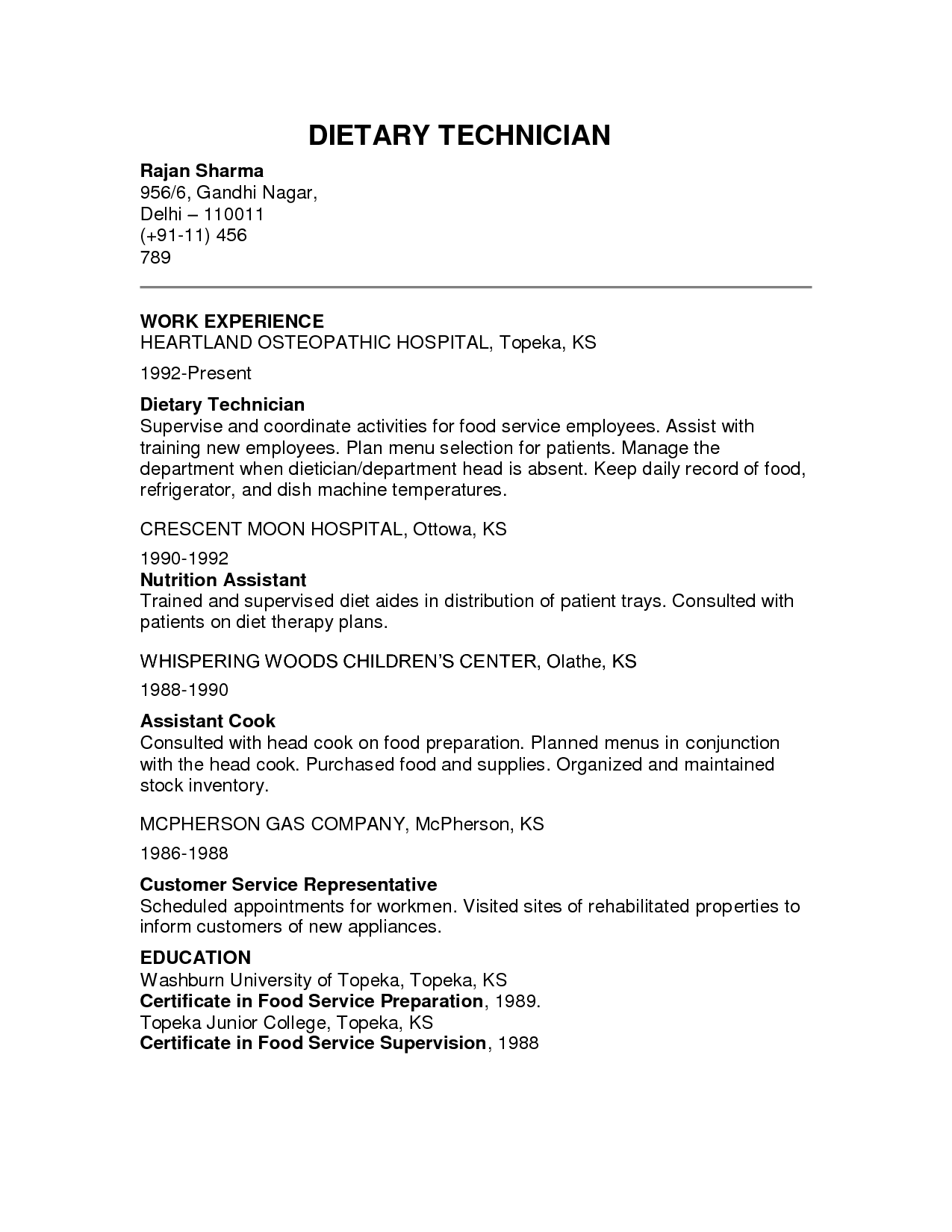 Dietary Aide Resume Responsibilities