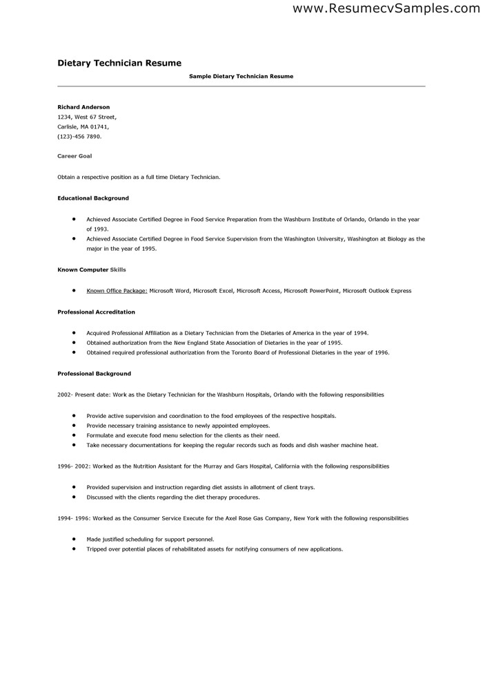 Diet Tech  Resume Cv Cover Letter