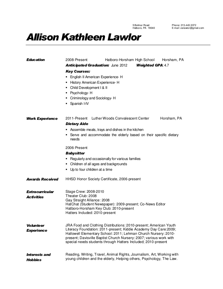 To Create A Resume For A Dietary Aide