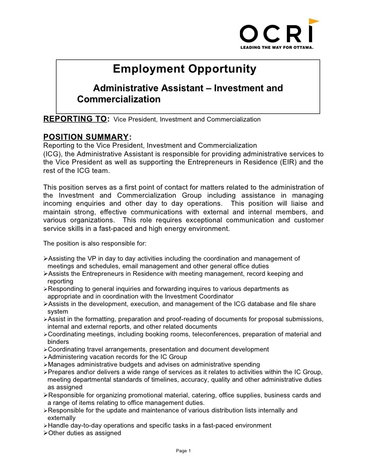 Employment Opportunity Administrative Assistant Investment And