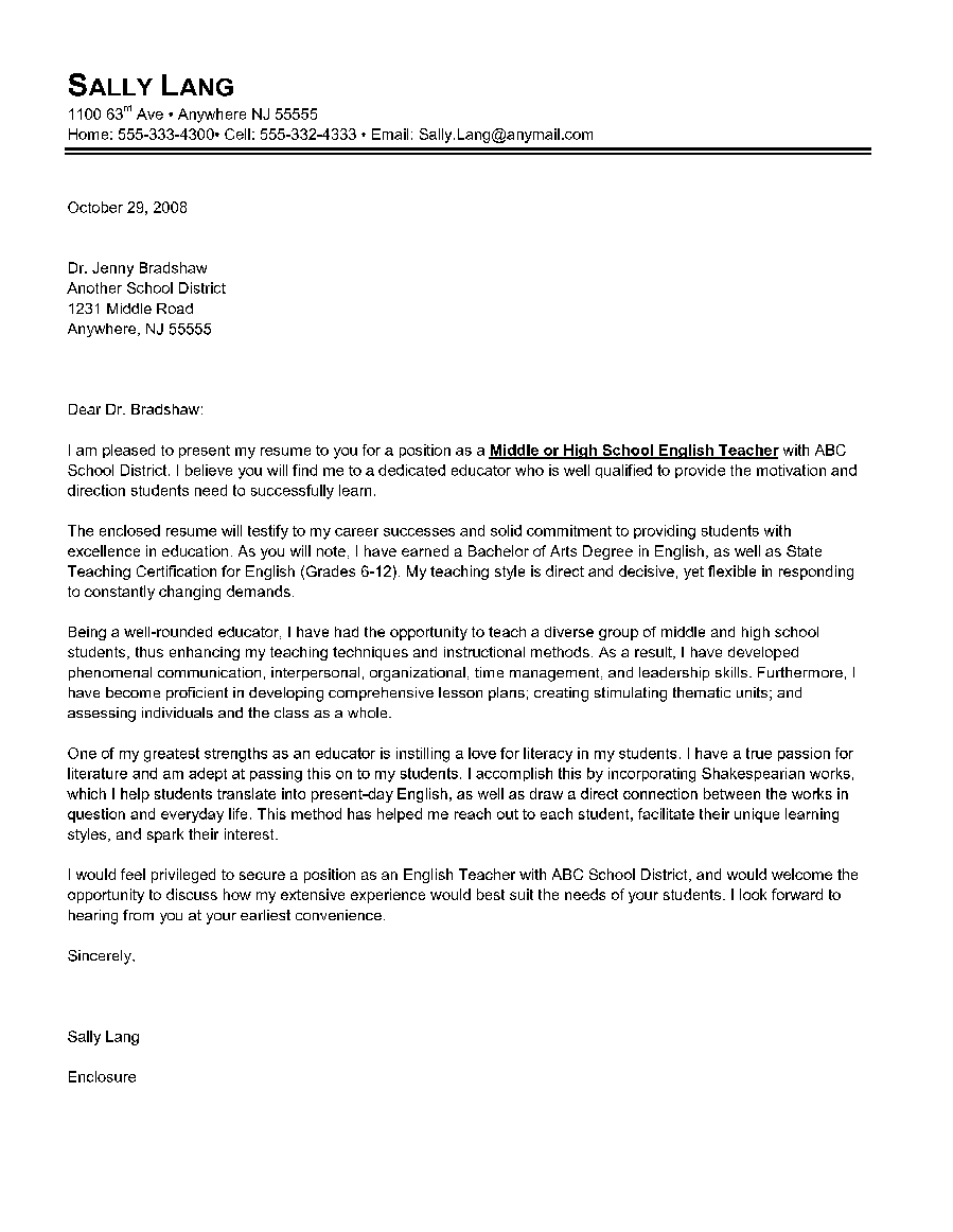 English teacher cover letter letter of introduction for job by sally english teacher cover letter letter of introduction for job by sally lang yelopaper Choice Image