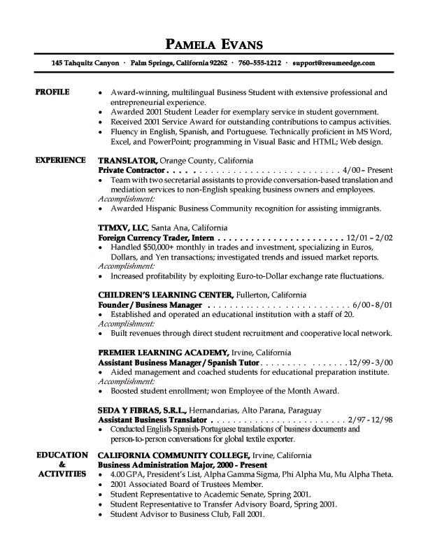 Entrepreneur Objective For Resume Free Professional Resume
