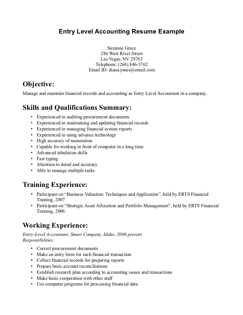 entry level accounting jobs resume no experience entry level accounting resume no experience suzanne grace - Entry Level Accounting Resume
