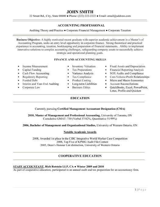 Entry Level Accounting Jobs Resume  SamplebusinessresumeCom