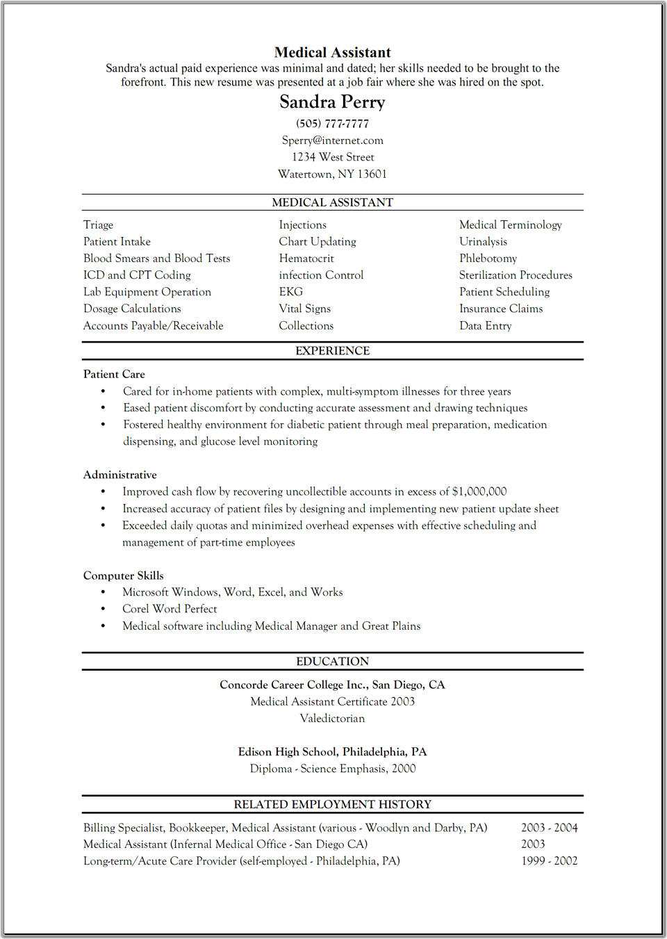 sample resume for medical administrative assistant entry level medical administrative assistant resume resume examples for medical assistants entry level medical assistant sandra