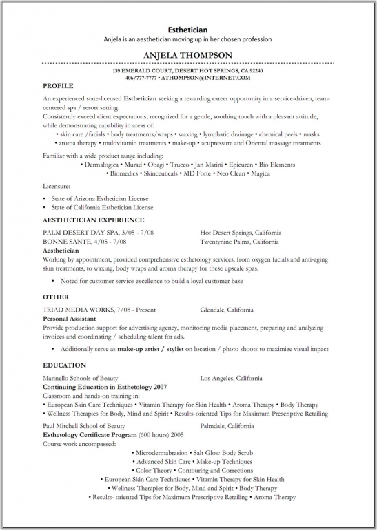 esthetician resume samples esthetician resume objective by anjela thompson