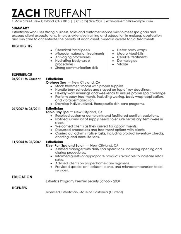12 Sample Esthetician Resume 2016 Samplebusinessresume