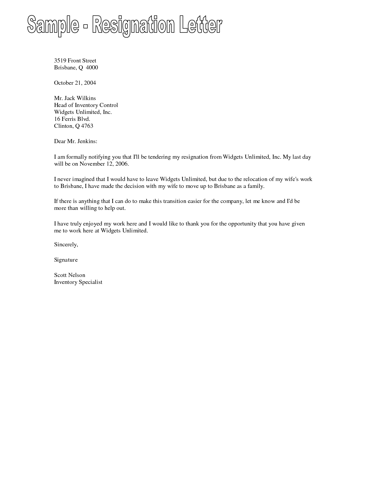 examples of resignation letters resignation letter examples free