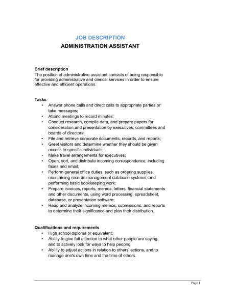 Administrative Assistant Job Description Office Sample