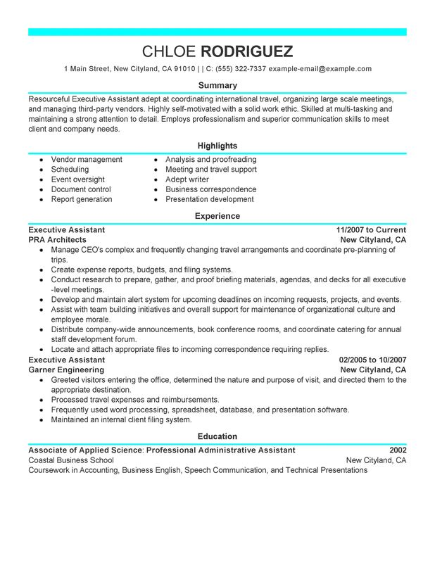 executive assistant resume cover letter executive