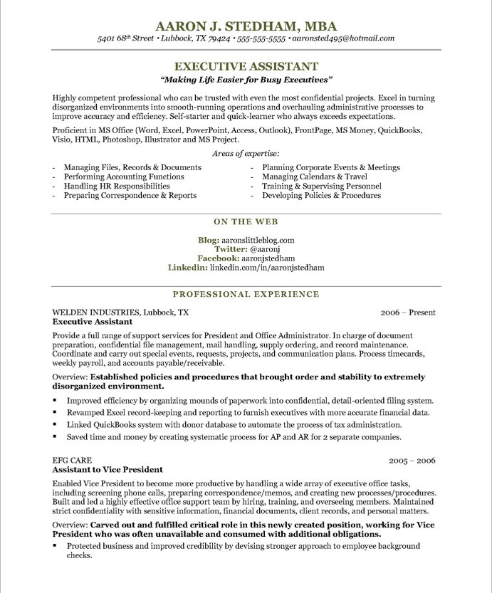 Executive Assistant Resume Executive Assistant Aaron J. Stedham